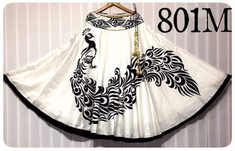 White Color Banglori Satin Silk Stitched Skirt - UFZ-801M