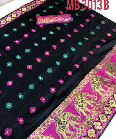 Black Color Pure Cotton Silk Saree - UFZMB3013B
