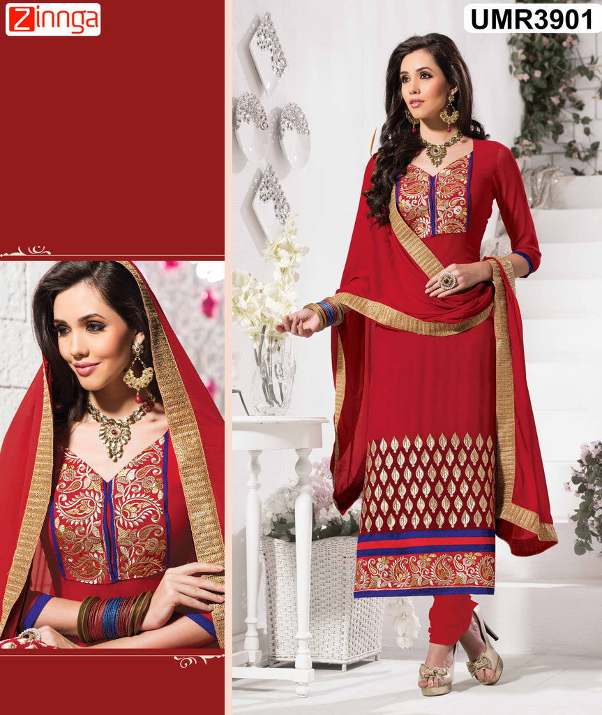 Red Color Faux Georgette Semistitched Salwar