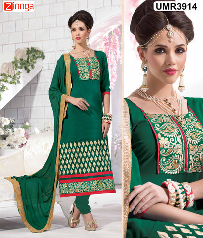 Green Color Faux GeorgetteSemistitched Salwar - UMR3901