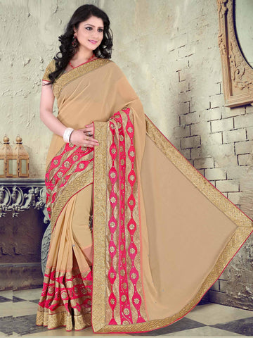 Beige Color Chiffon Saree - UQFLA4916