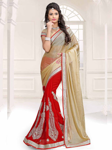 Red Color Lycra and Chiffon Saree - UQFLA4919