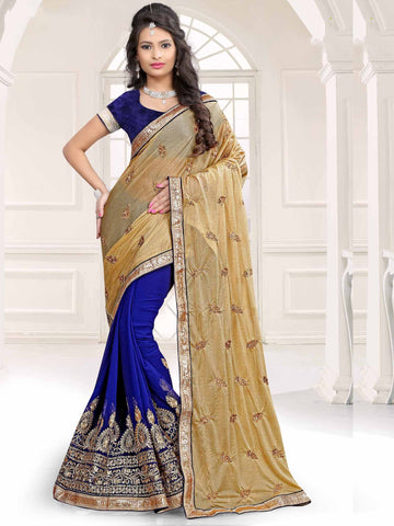 Blue Color Georgette and Chiffon Saree - UQFLA4920