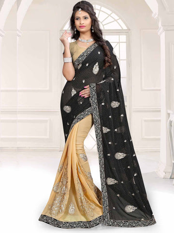 Black Color Georgette and Chiffon Saree - UQFLA4923