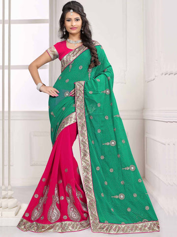 Green Color Georgette and Chiffon Saree - UQFLA4926