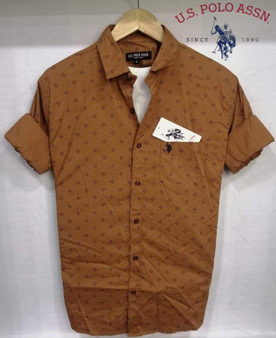 Brown Color Pure Cotton Men's Shirt - USPS-16
