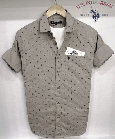 Gray Color Pure Cotton Men's Shirt - USPS-18
