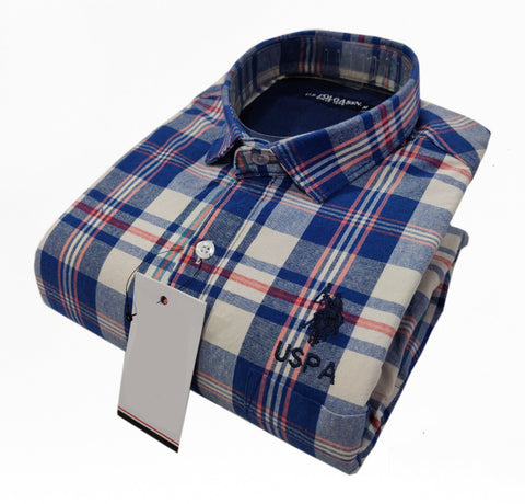 Blue Color Pure Cotton Men's Checkered Shirt - USPS-20