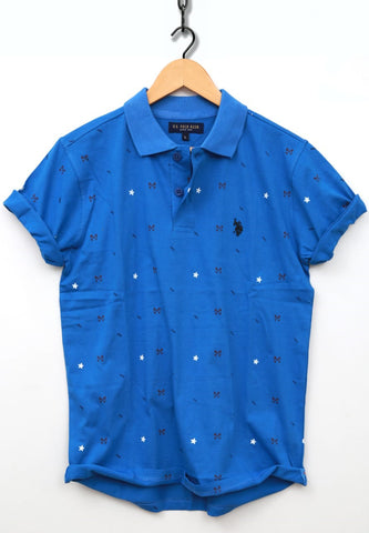 Blue Color Combed Cotton Jersy Men's TShirt - USPT-1