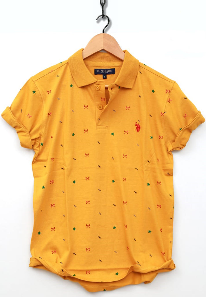 Yellow Color Combed Cotton Jersy Men's TShirt - USPT-4