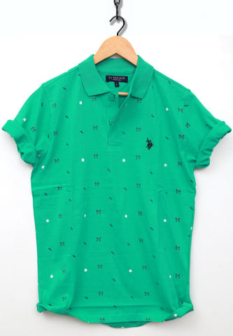 Green Color Combed Cotton Jersy Men's TShirt - USPT-5