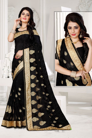 Black Color Georgette Saree - UTSAV-123