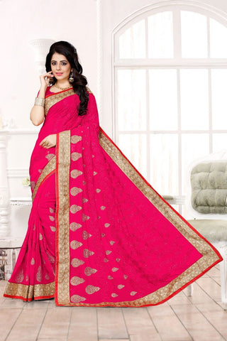 Pink Color Georgette Saree - UTSAV-124