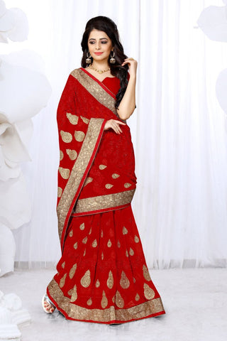 Red Color Georgette Saree - UTSAV-125