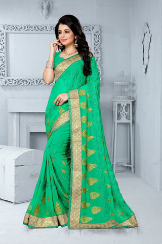 Green Color Georgette Saree - UTSAV-127