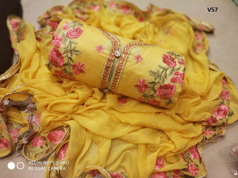 Light Yellow Color Chanderi Cotton Embroidered Unstitched Salwar - V57