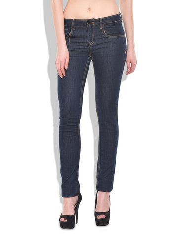 Blue Color Organic Cotton Women Jeans - VAC-IndigoRinseDark