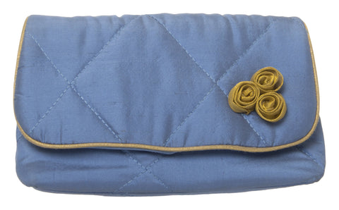 Blue Color Pure Silk Women's HandBag - VARASIDDHI-HB10