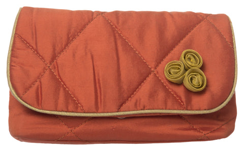 Orange Color Pure Silk Women's HandBag - VARASIDDHI-HB11