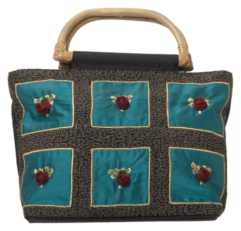 Teal Color Pure Silk Women's HandBag - VARASIDDHI-HB12