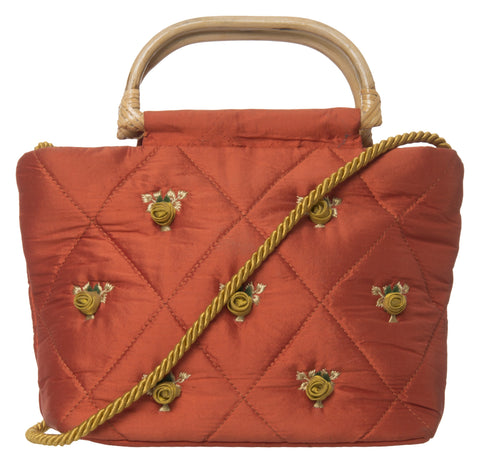 Orange Color Pure Silk Women's HandBag - VARASIDDHI-HB15