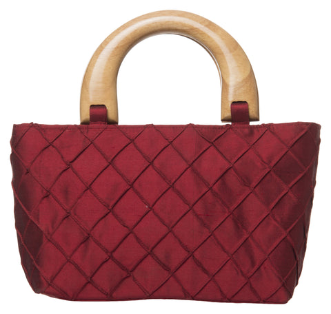 Red Color Pure Silk Women's HandBag - VARASIDDHI-HB2