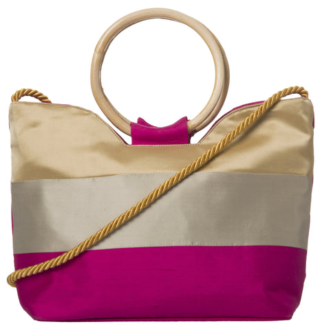 Multi Color Pure Silk Women's HandBag - VARASIDDHI-HB4