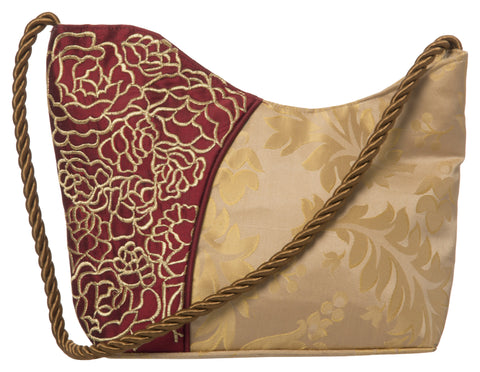 Beige Color Pure Silk Women's HandBag - VARASIDDHI-HB9