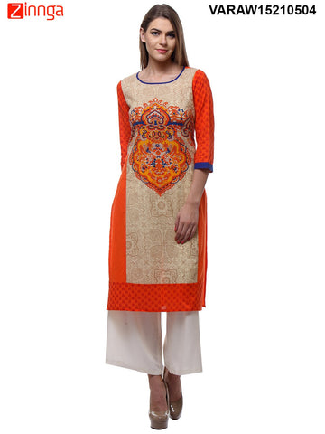 Orange Color Cotton Stitched Kurti - VARAW15210504