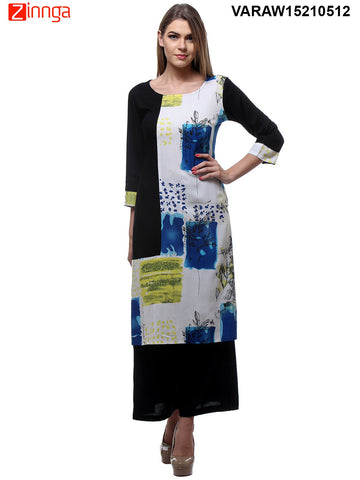 Black and White  Color Rayon Stitched Kurti - VARAW15210512