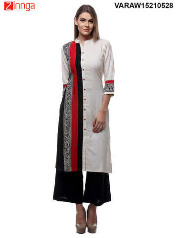 Black and White  Color Jute and Cotton Flex Stitched Kurti - VARAW15210528