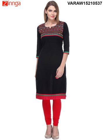 Black Color Cotton Kurti - VARAW15210537