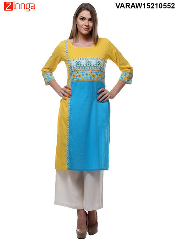 Yellow and Sky Blue Color Cotton Stitched Kurti - VARAW15210552