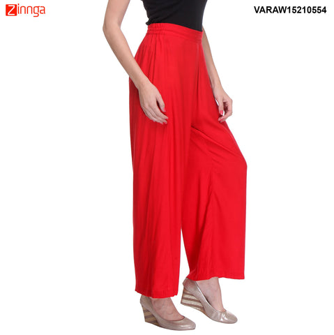 RED COLOR RAYON PLAZO - VARAW15210554