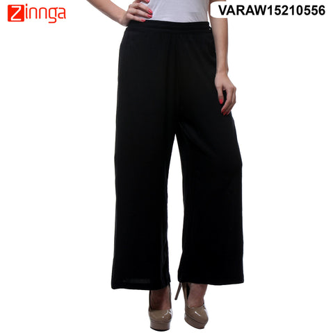 BLACK COLOR RAYON PLAZO - VARAW15210556