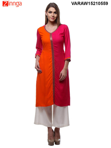 Pink and Orange Color Rayon Kurti - VARAW15210559