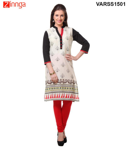 Off White 60's Cambric  Stitched Kurti - VARSS1501