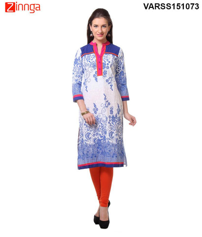 Blue and White 60's Cambric  Stitched Kurti - VARSS15073