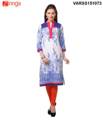 Blue and White  60's Cambric Stitched Kurti