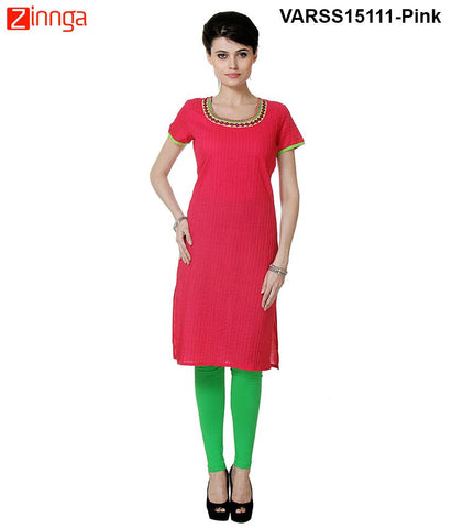 Pink Color 60's Cambric Stitched Kurti - VARSS15111-pink