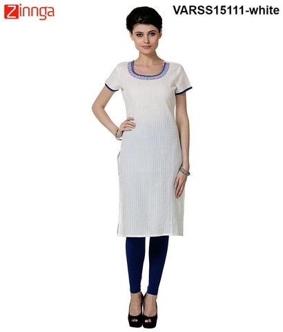 White Color 60's Cambric Stitched Kurti - VARSS15111-white