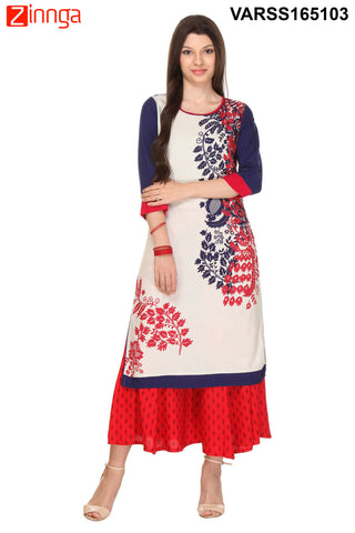 White and Blue Color Flex Rayon Stitched Kurti  - VARSS165103