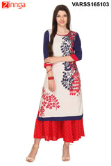 White and Blue Color Flex Rayon Kurti