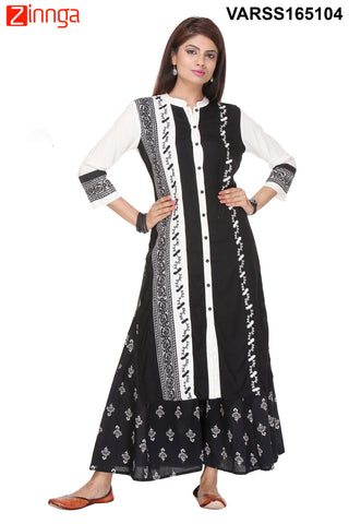 Black and White Color Flex Rayon Stitched Kurti  - VARSS165104