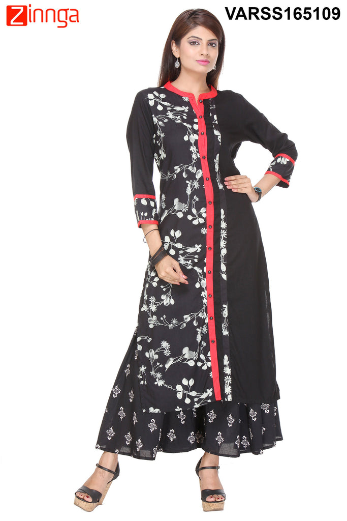 Black Color Rayon Kurti