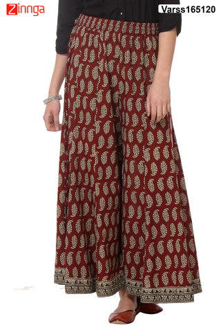 MAROON  COLOR COTTON PLAZO - VARSS165120