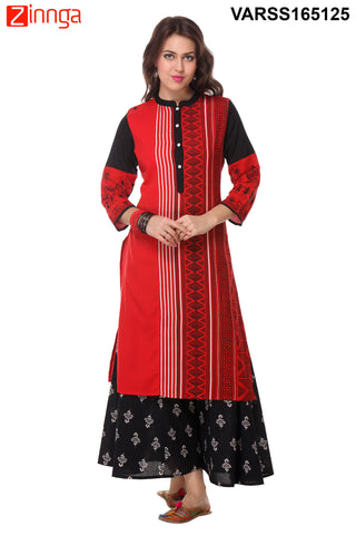 Red and Black Color Cotton Flex Stitched Kurti  - VARSS165125