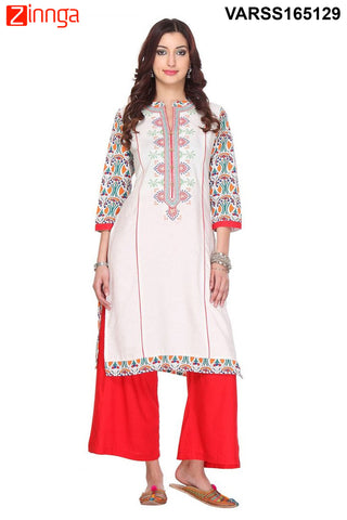 Off White Color Flex Rayon Stitched Kurti  - VARSS165129