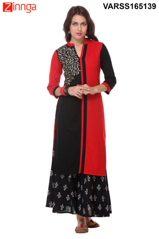 Red and Black Color Cotton Flex Stitched Kurti  - VARSS165139