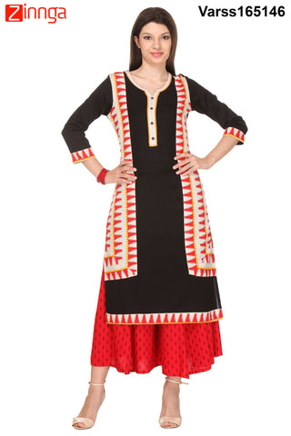 Black Color Cotton Flex Stitched Kurti  - VARSS165146